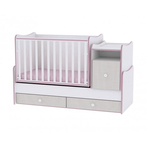 Lorelli Trend plus kombi kiságy (white-pink)